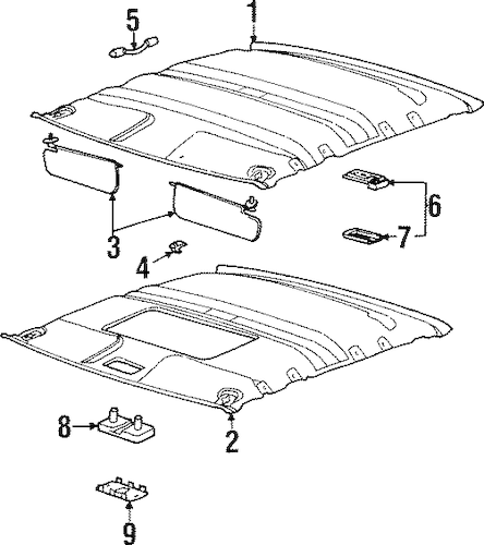 21303732 Dome Lamp Assembly for 1997 Saturn SC2 : GM Parts