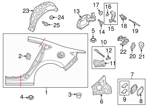 Quarter Panel & Components for 2015 Mazda 6