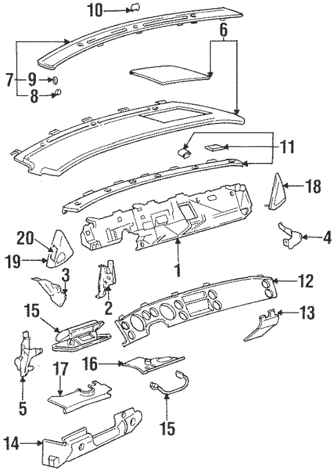 Instrument Panel Components for 1996 Buick Riviera