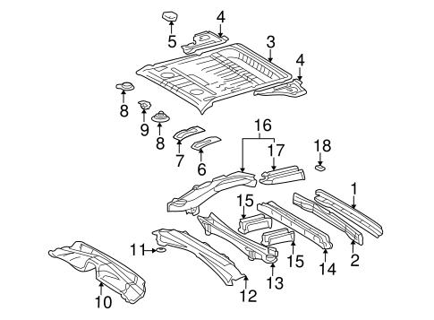 Genuine OEM Rear Floor & Rails Parts for 2002 Toyota RAV4