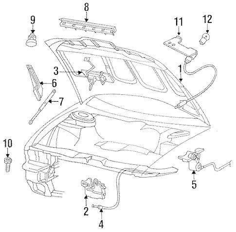HOOD & COMPONENTS for 1996 Dodge Intrepid