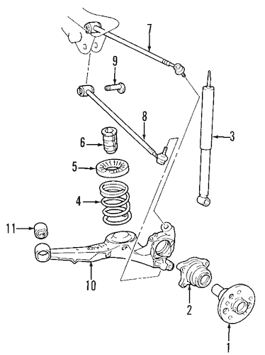 Genuine OEM REAR SUSPENSION Parts for 1998 Toyota RAV4