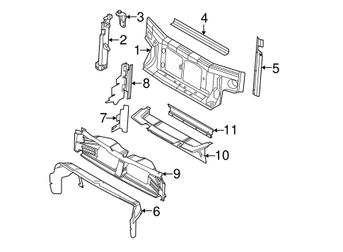 RADIATOR SUPPORT for 2010 Ford Explorer