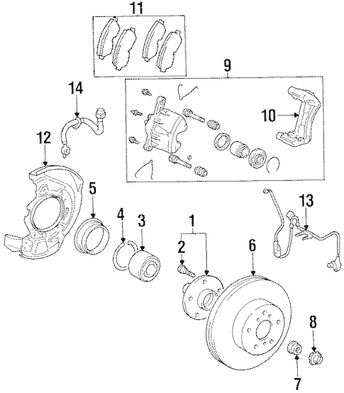 Genuine OEM Brake Components Parts for 1997 Toyota Avalon