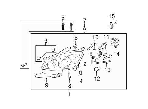 OEM Headlamp Components for 2010 Saturn Outlook