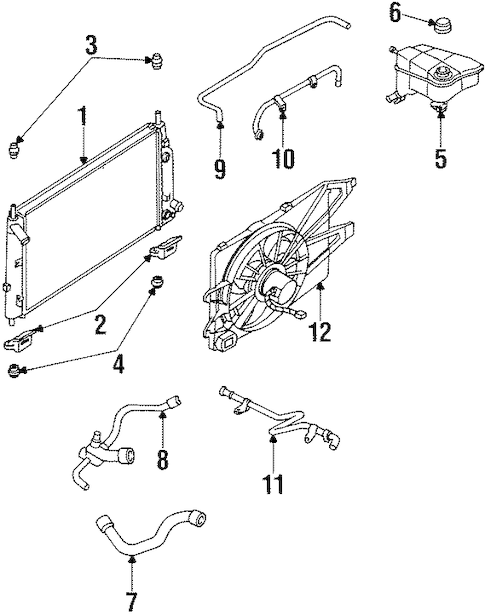 RADIATOR & COMPONENTS for 1997 Ford Contour
