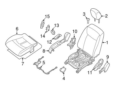 PASSENGER SEAT COMPONENTS for 2015 Nissan Leaf