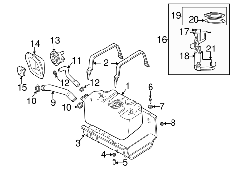 Fuel System Components for 2000 Jeep Wrangler Parts