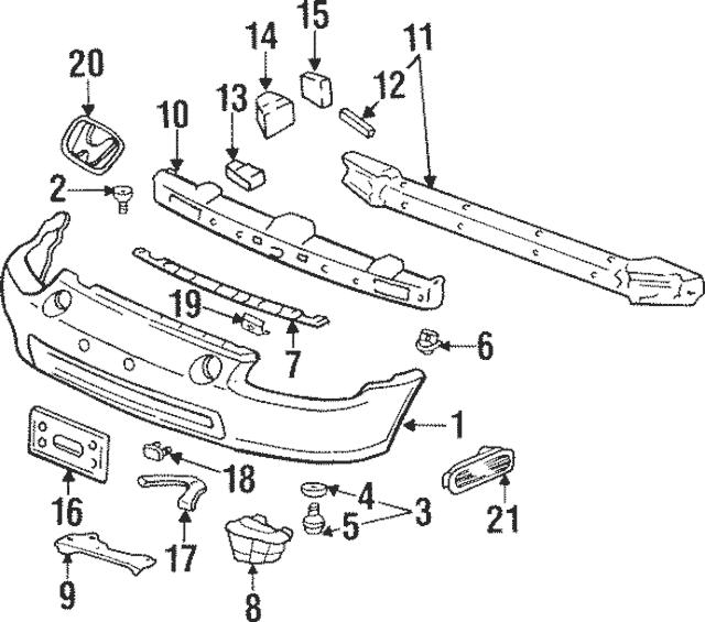 1992-2002 Honda Grommet, Bumper Side 71144-SR3-A00