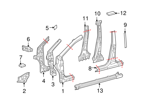 Genuine OEM Center Pillar & Rocker Parts for 2013 Toyota