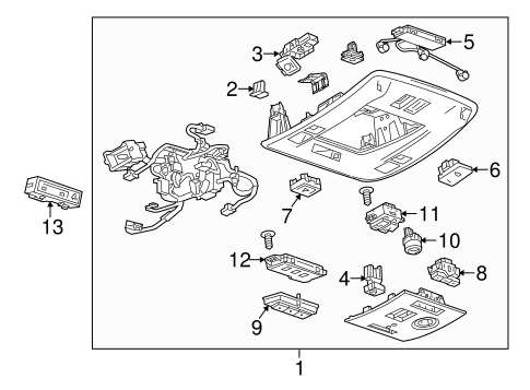 OEM 2015 Chevrolet Tahoe Overhead Console Parts