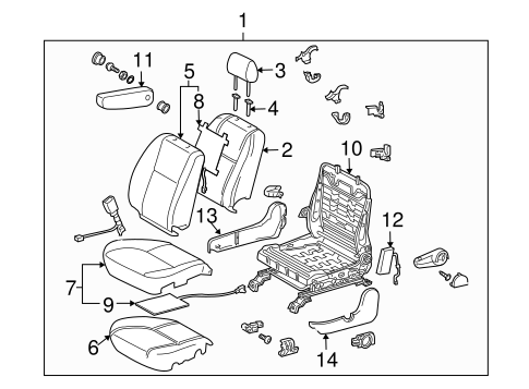 Genuine OEM Front Seat Components Parts for 2005 Toyota