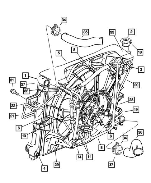 2001 Jeep Grand Cherokee Water Pump : grand, cherokee, water, Radiator, Related, Parts, Grand, Cherokee, Thomas, Dodge