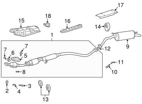 Genuine OEM Exhaust Components Parts for 2002 Toyota Prius