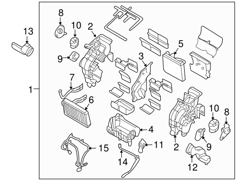Evaporator & Heater Components for 2007 Hyundai Entourage