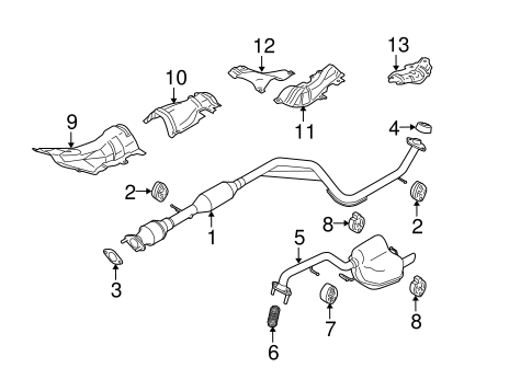 Genuine OEM Exhaust Components Parts For 2006 Mazda 5