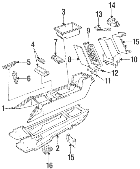 OEM 1993 Cadillac Allante Center Console Parts