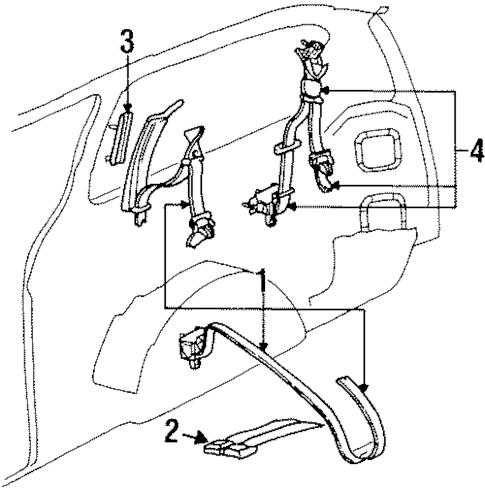 REAR SEAT BELTS for 1996 Dodge Grand Caravan