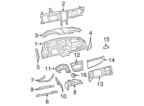Instrument Panel Components for 2010 Dodge Avenger Parts