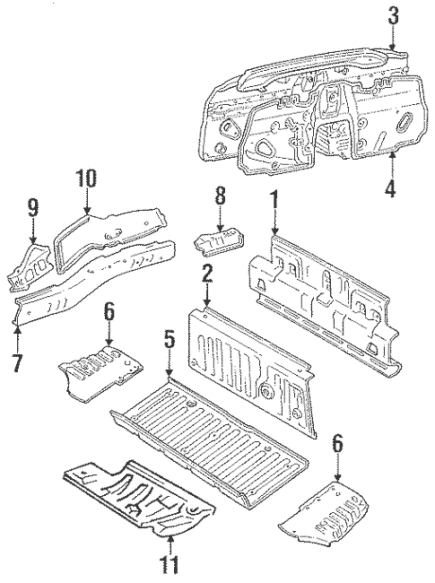 Genuine OEM Rear Floor & Rails Parts for 1991 Toyota MR2