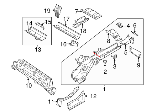 OEM 2018 Ford Transit Connect Rails & Components Parts