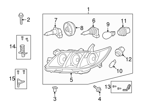 Genuine OEM Headlamp Components Parts for 2008 Toyota