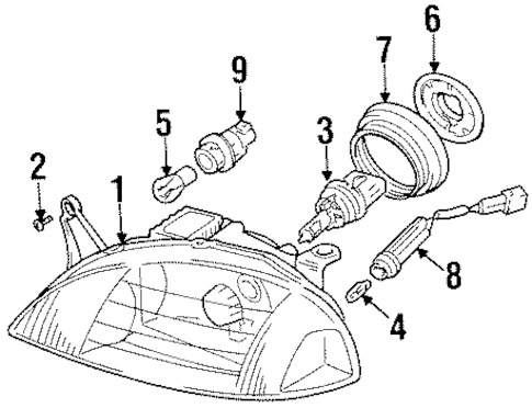 OEM Headlamp Components for 2001 Chevrolet Metro