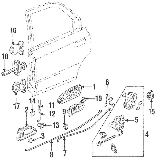 Genuine 1990-2001 Honda Crank Assembly, Rear Door Lock