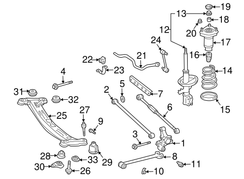 Genuine OEM Rear Suspension Parts for 2001 Toyota Solara