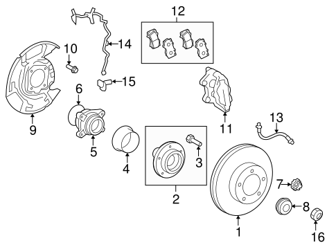 Genuine OEM Front Brakes Parts for 2008 Toyota Tundra Base