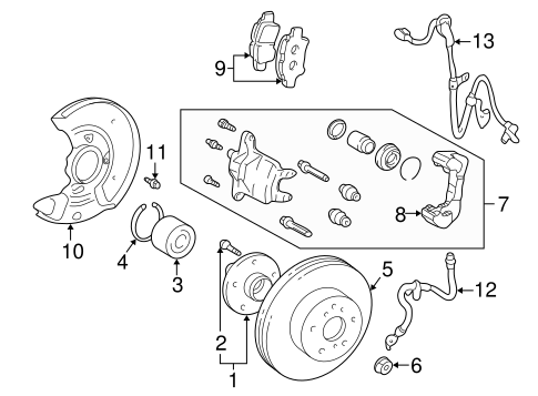Genuine OEM FRONT BRAKES Parts for 2003 Toyota Prius Base