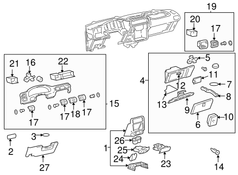 INSTRUMENT PANEL COMPONENTS for 2003 Chevrolet Venture