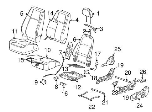 Front Seat Components for 2006 Chevrolet Cobalt (LS