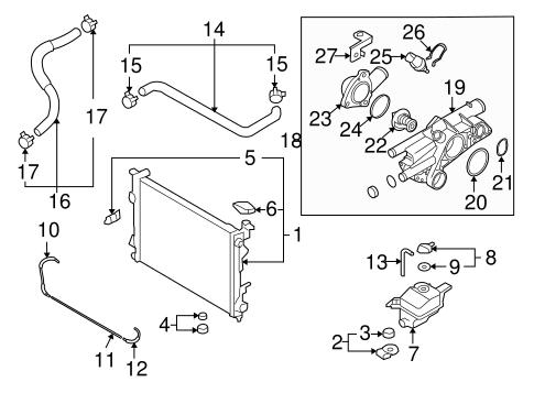 Radiator & Components for 2009 Hyundai Sonata