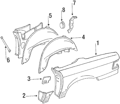 Quarter Panel & Components for 1986 Mercedes-Benz 560 SL