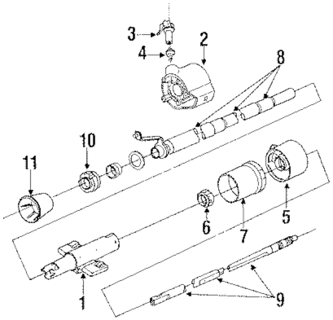 Steering Column Assembly Parts for 1993 Chevrolet Lumina