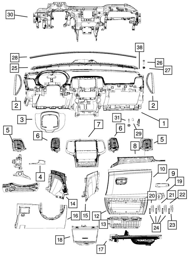 2018 Jeep Grand Cherokee Base Panel Instrument Panel, US