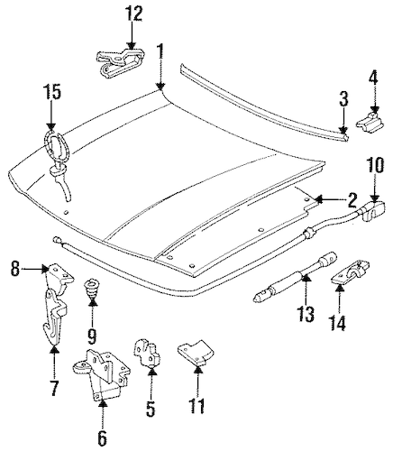 HOOD & COMPONENTS for 1996 Cadillac Fleetwood (Brougham)