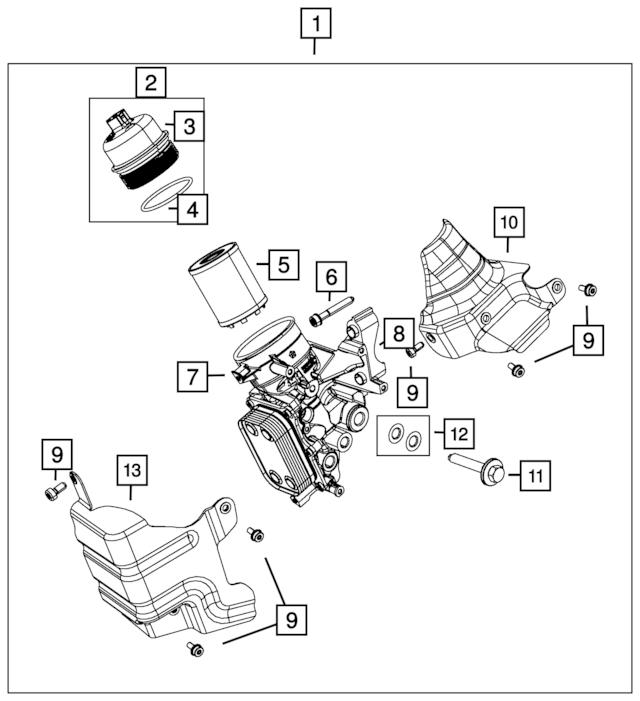 Genuine OEM Fiat Engine Oil Filter Adapter Part