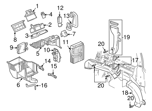 OEM 2003 Chevrolet Venture Evaporator & Heater Components