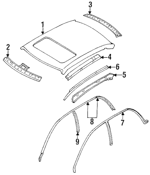 ROOF & COMPONENTS for 1996 Subaru Legacy