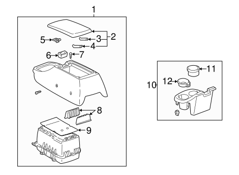 Genuine OEM CENTER CONSOLE Parts for 2003 Toyota Tundra