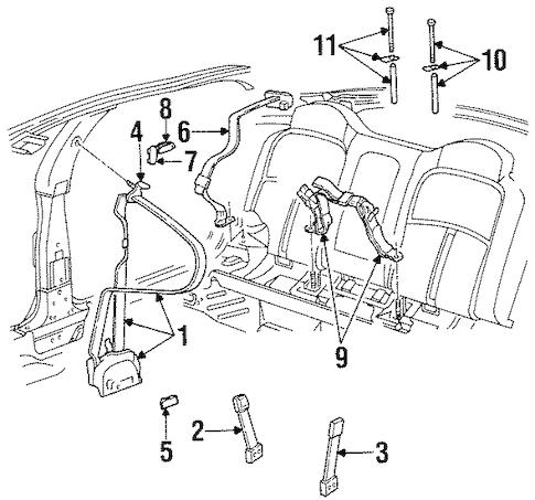 OEM 1997 Oldsmobile Aurora Front Seat Belts Parts