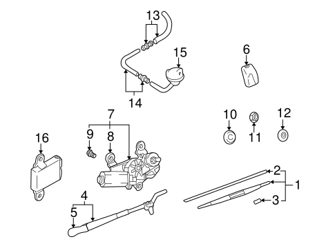 WIPER & WASHER COMPONENTS for 2005 Hyundai Santa Fe