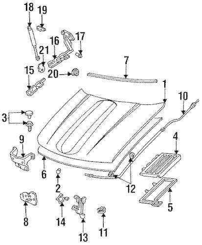 OEM 1993 Chevrolet Lumina Hood & Components Parts