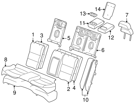 REAR SEAT COMPONENTS for 2000 Lincoln LS