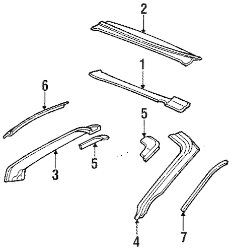 OEM WINDSHIELD HEADER & COMPONENTS for 1995 Pontiac