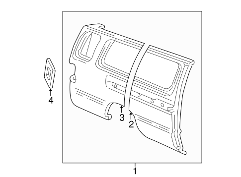Side Panel for 1996 Ford E-150 Econoline Club Wagon