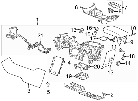 OEM 2015 Chevrolet Malibu Center Console Parts
