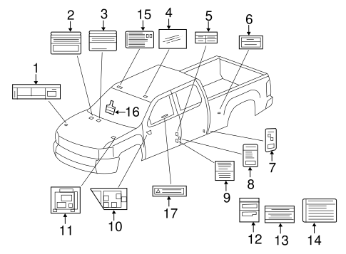 OEM 2011 Chevrolet Silverado 3500 HD Labels Parts
